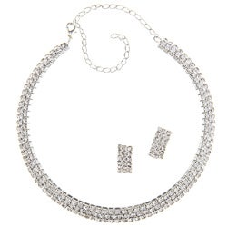 LinaJoy Silvertone Clear Cubic Zirconia Jewelry Set