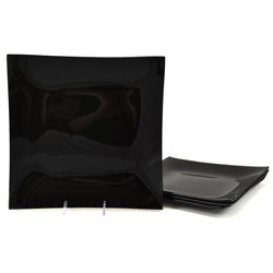 Black Tempered Glass Dinner Plate/Charger Set