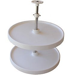 Double Round 18-inch Lazy Susan Turntable with Two Rotating Trays