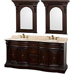 Wyndham Collection Roosevelt 72-inch Warm Cherry Traditional Double Bathroom Vanity