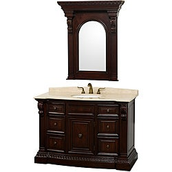 Wyndham Collection Roosevelt 48-inch Warm Cherry Traditional Bathroom Vanity