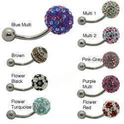 14-gauge 316L Surgical Sterling Silver Crystal-accent Belly Ring