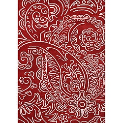 Handmade Sabrina Red New Zealand Wool Rug (8' x 10')