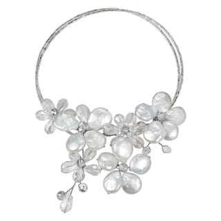 Coin Freshwater Pearl-Crystal Floral Paradise Cluster Choker (Thailand)