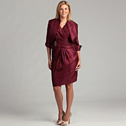 Jessica Howard Women&#39;s Wine Pleated 2-piece Plus Dress