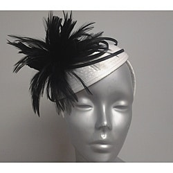 Women's Swan White/ Black Ribbon/ Feather Fascinator Hat