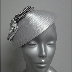 Swan Women's Silver Satin Ribbon Rose Fascinator Hat