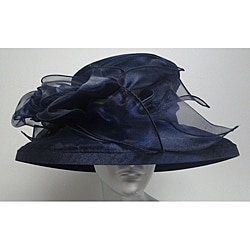 Swan Women's Navy Organza Packable Church Hat