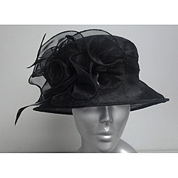 Swan Women's Black Organza Flowers Packable Church Hat