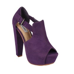 Neway by Beston &#39;Daisy-02&#39; Women&#39;s Purple Peep-toe Chunky Heels