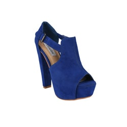 Neway by Beston 'Daisy-02' Women's Blue Peep-toe Chunky Heels
