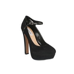 Neway by Beston 'Bebe-01' Women's Black Ankle-strap Mary Jane Platform Pumps