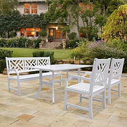 Bradley Rectangular Table, Bench and Armchair Outdoor Wood Dining Set