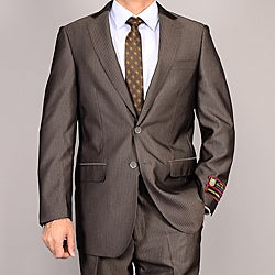 Giorgio Fiorelli Men&#39;s Brown Striped Suit