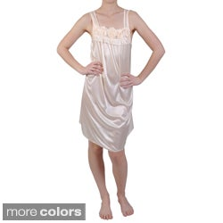 Journee Collection Women's Rosette Detail Satin Nightgown