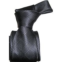 Dmintry Men's Grey Italian Silk Plaid Neck Tie