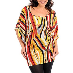 Stanzino Women's Plus Yellow Abstract Kimono Sleeve Tunic