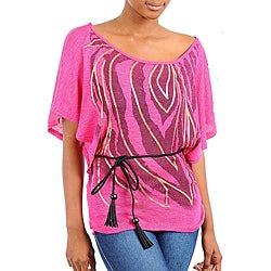 Stanzino Women's Fuschia Printed Kimono Sleeve Top