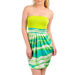 Stanzino Women's Lime White Strapless Dress