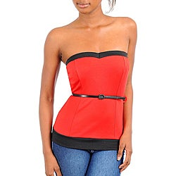 Stanzino Women's Red Black Strapless Top With Skinny Belt Detail
