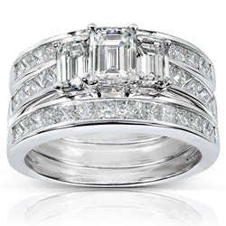 14k White Gold 2 5/8ct TDW Diamond 3-piece Bridal Ring Set (H-I, SI1-SI2)