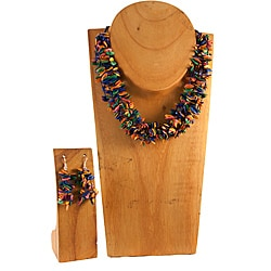 Multicolor Melon Seed Necklace and Earring Set (Colombia)