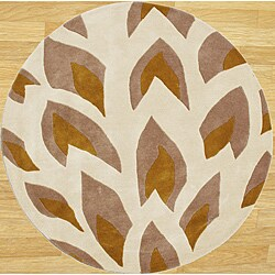 Handmade Flame Beige Wool Rug (6' Round)