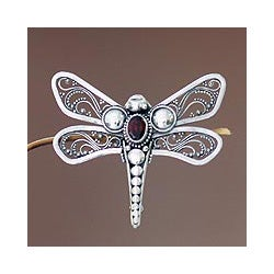 Sterling Silver 'Scarlet Dragonfly' Garnet Brooch (Indonesia)