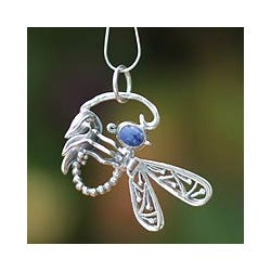 Sterling Silver 'Andean Dragonfly' Sodalite Necklace (Peru)