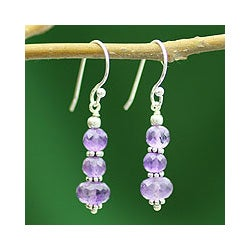 Sterling Silver 'Jaipur Lily' Amethyst Dangle Earrings (India)