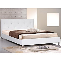 Barbara White Modern King-size Bed with Crystal Button Tufting