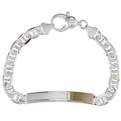 Sterling Silver and 18k Gold 7-mm Bordered ID Link Bracelet