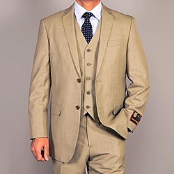 Men's Olive Teakweave 3-Piece Vested Suit