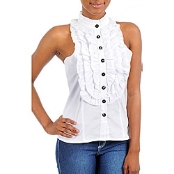 Stanzino Women's White Ruffled Sleeveless Tuxedo Top