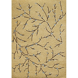 Hand-made Textured Corn New Zealand Wool Rug and Viscose Silk Rug (8' x 10')