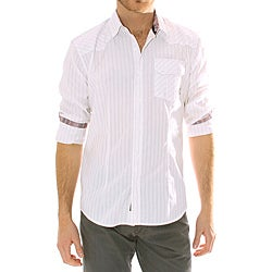 191 Unlimited Mens White Striped Woven Shirt