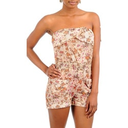 Stanzino Women&#39;s Light Brown Strapless Floral Romper