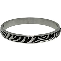 CGC Stainless Steel and Black PVD Zebra Print Hinged Bangle