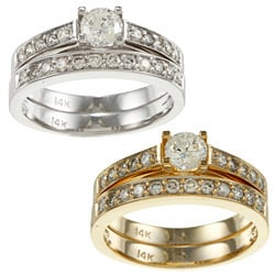 14k Gold 1ct TDW Round Diamond Bridal Ring Set (I-J, I2)