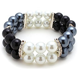Bleek2Sheek Black/White/Gray Glass-pearl-bead Stretch Bracelet