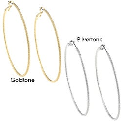 Silvertone/ Goldtone Diamond-cut Textured 70-mm Hoop Earrings