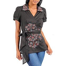 Stanzino Women's Plus-size Wrap-Style Black Floral Top