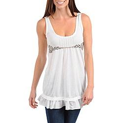 Stanzino Women's Plus-size Ivory Sleeveless Babydoll Top