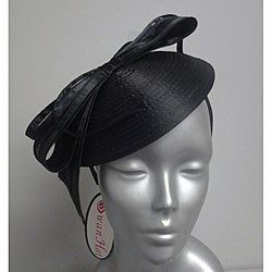 Swan Hat Women's Black Satin Ribbon Cocktail Fascinator