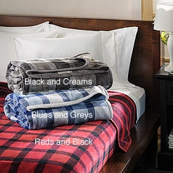 Ibena German Jacquard Plaid Plush Blanket
