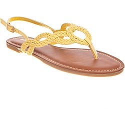 Riverberry Women's 'Morris' Yellow Braided Thong Sandals