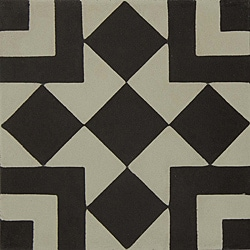Granada Tile Echo Collection Fez B Black and White Cement Tile (Sample)