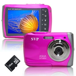 SVP WP6800 18MP Pink Waterproof Camera with 32GB Micro SD