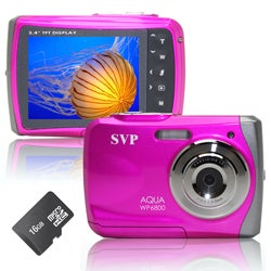 SVP WP6800 18MP Pink Waterproof Camera with 16GB Micro SD