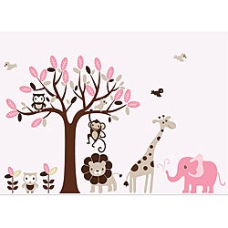 Nursery Wall Art Girl's Safari Animal Tree Wall Decal Set